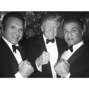 Sylvester Stallone with brother and Trump