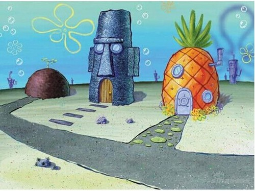 Spongebob Squarepants kertas dinding titled The Neighborhood