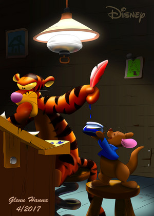 Tigger gets artistic with Roo's help