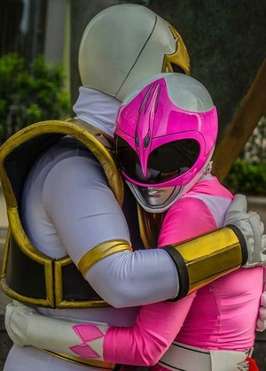 White ranger and pink ranger/tommy and kimberly