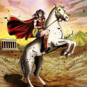 Wonder Woman rides on an White Stallion