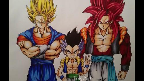 Dragon Ball Z Wallpaper Entitled All Saiyan Fusions
