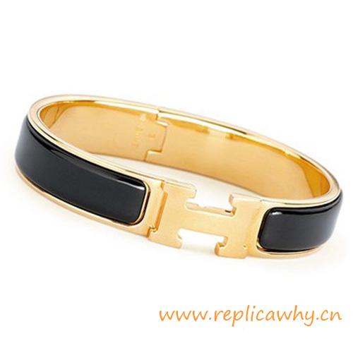 Replicawhy Wallpaper Led Original Design Clic Clac H Gold Narrow Hermes Bracelet Black Enamel