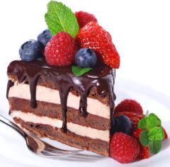 A Slice Of A Cake With A Fruit Topping