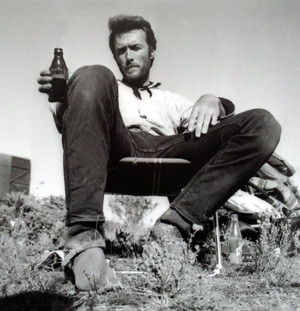 Clint Eastwood relaxing on the set of The Good, the Bad and the Ugly