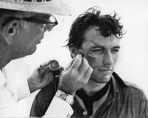 Clint getting his makeup for Hang 'Em High (1968)