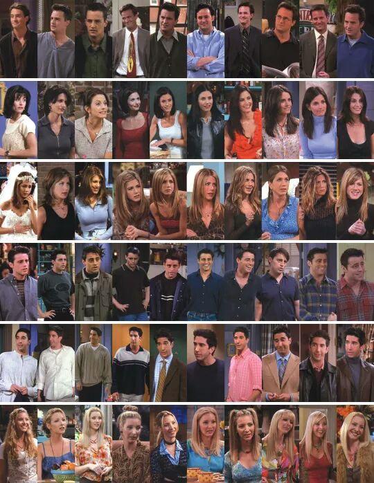 Friends from season 1 to season 10