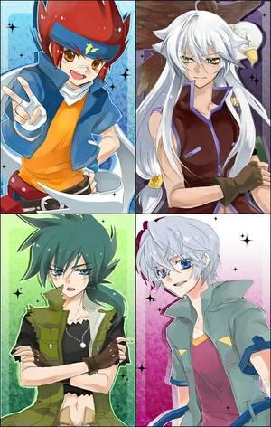 Gingka, Tsubasa, Kyouya, Hyoma