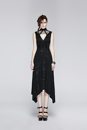 哥特式 Black Sleeveless Summer Sexy Deep V Neck Asymmetrical Dress 03
