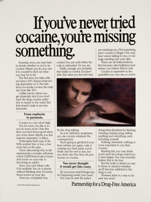 If you've never tried cocaine, you're missing something poster (1987)
