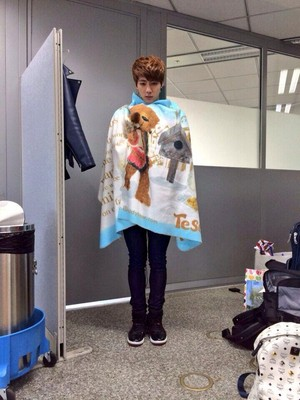 Jin with a cute towel