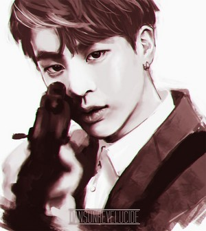 Kim Seokjin with a gun