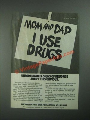 Mom and Dad I use Drugs poster (1987)