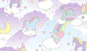 rosado, rosa fluffy unicornios dancing on rainbows