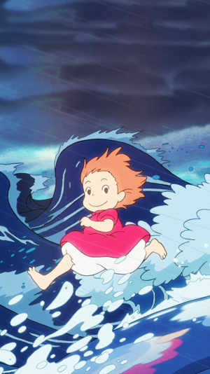 Ponyo on the Cliff Von the Sea Phone Background