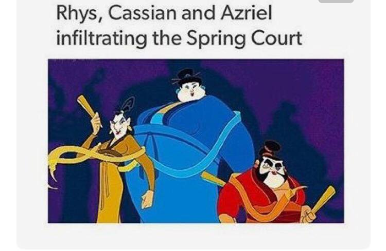 Rhys Azriel and Cassian infiltrating spring