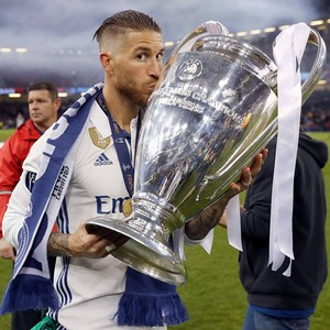 Sergio Ramos at the celebration of Real Madrid's 12th UEFA Champions League