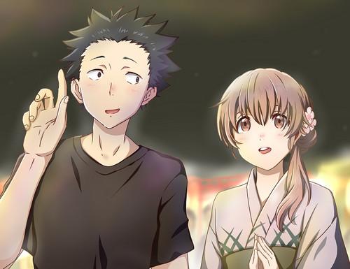Koe no Katachi karatasi la kupamba ukuta entitled Shouko and Shouya