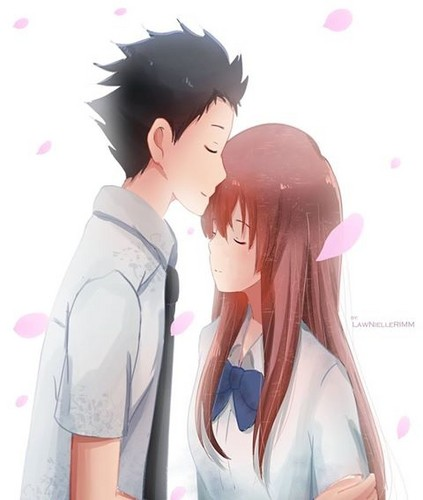 Koe no Katachi karatasi la kupamba ukuta called Shouya and Shouko