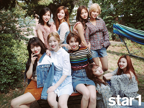 Twice (JYP Ent) achtergrond entitled Twice for Star1 Magazine June 2017 Issue