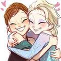 elsa and anna hugging - frozen photo