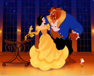 snow white in golden dress with Beast
