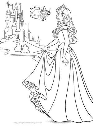 Walt Disney Coloring Pages - Fauna & Princess Aurora