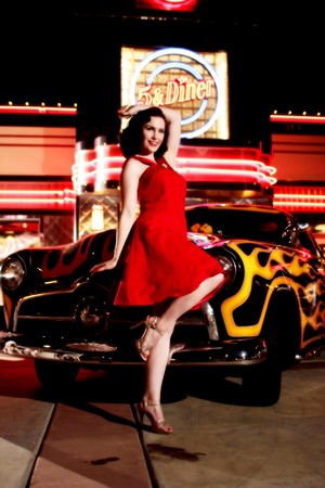 5 & diner Pinup carhop and hot rod
