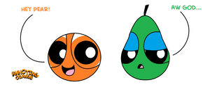 Annoying orange and poire, pear - Powerpuff Girls style