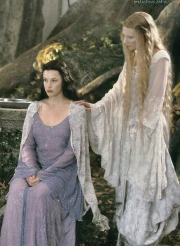 द लॉर्ड ऑफ द रिंग्स वॉलपेपर titled Arwen and Galadriel