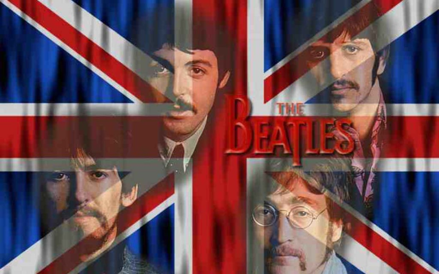 Beatles With UK Flag Wallpaper