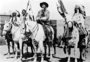 Bill Cody (Buffalo Bill) and NA Indians from his Wild West tunjuk
