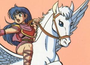 Caeda with her Beautiful Pegasus corcel, steed