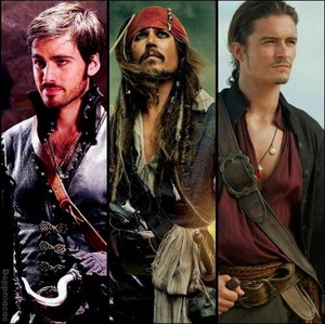 Captain Collian Hok,Captain Jack Sparrow and Will Turner