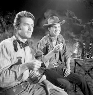 Clint and Eric Fleming on the set of Rawhide