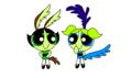 Coyote Buttercup and Roadrunner Bubbles - powerpuff-girls fan art