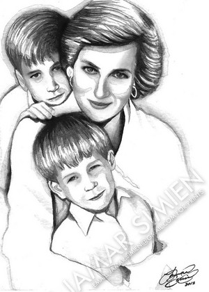 Diana And Her Sons Harry And William