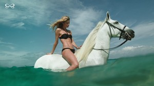 Doutzen Kroes riding her Beautiful White Horse