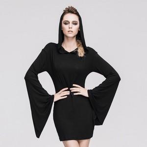 哥特式 Black Splicing Long Sleeved Hooded Women Dress 03