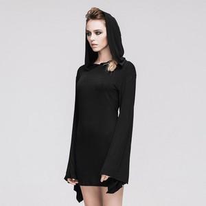 哥特式 Black Splicing Long Sleeved Hooded Women Dress 04