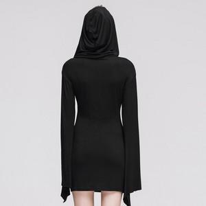 哥特式 Black Splicing Long Sleeved Hooded Women Dress 05