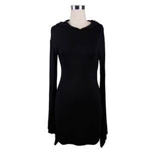 哥特式 Black Splicing Long Sleeved Hooded Women Dress 06