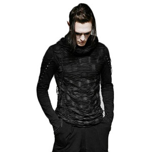 哥特式 Hole Hooded Black Punk O neck Long Sleeve 最佳, 返回页首 Cotton Men T 衬衫 01