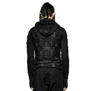 哥特式 Hole Hooded Black Punk O neck Long Sleeve 最佳, 返回页首 Cotton Men T 衬衫 02