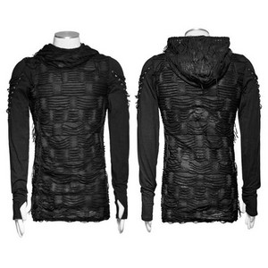 哥特式 Hole Hooded Black Punk O neck Long Sleeve 最佳, 返回页首 Cotton Men T 衬衫 03