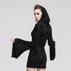 哥特式 Knitting Long Sleeve Hooded Women Printing Dress 03