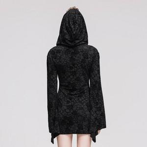 哥特式 Knitting Long Sleeve Hooded Women Printing Dress 04