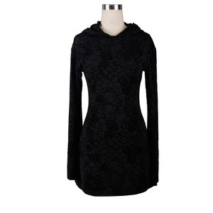 哥特式 Knitting Long Sleeve Hooded Women Printing Dress 05