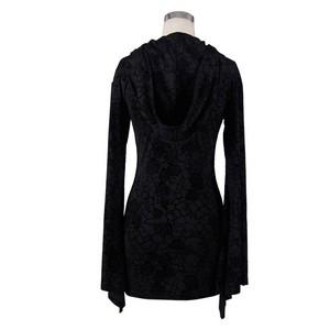 哥特式 Knitting Long Sleeve Hooded Women Printing Dress 06