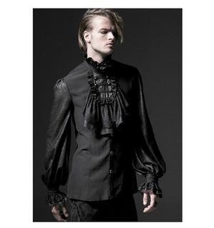 哥特式 Noble Palace Long Sleeve Black 花边 Embossed 衬衫 02